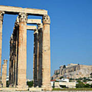 Temple Of Olympian Zeus And Acropolis In Athens Poster