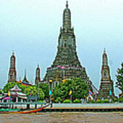 Temple Of The Dawn-wat Arun From Waterways Of Bangkok-thailand Poster