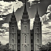 Temple Square Black And White Poster