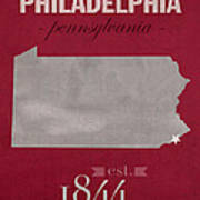 Temple University Owls Philadelphia Pennsylvania College Town State Map Poster Series No 103 Poster