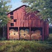 Tennessee Barn With Hay Bales Poster by Janet King