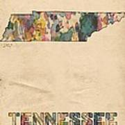 Tennessee Map Vintage Watercolor Poster