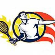 Tennis Player Flaming Racquet Ball Retro Poster