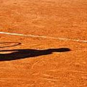 Tennis Player Shadow On A Clay Tennis Court Poster