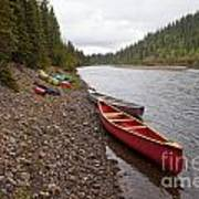 Tents And Canoes At Mcquesten River Yukon Canada Poster