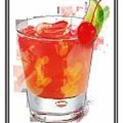 Tequila Sunrise Cocktail Marker Sketch Poster