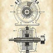 Tesla Alternating Electric Current Generator Patent 1891 - Vintage Poster