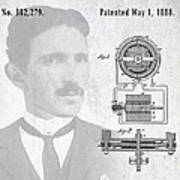 Tesla And The Electro Magnetic Motor Patent Poster