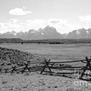 Teton Landscape With Fence - Black And White Poster