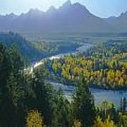 2m9301-teton Range From Snake River Overlook Poster