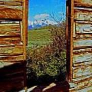 Tetons Through Log House Window Poster