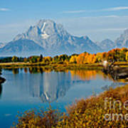 Tetons With Moose Poster