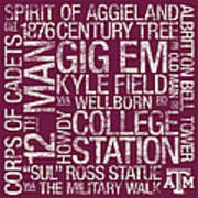 Texas Am College Colors Subway Art Poster