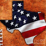 Texas American Flag Map Poster