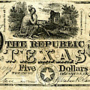 Texas Banknote, 1840 Poster