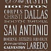 Texas Cities On Brown Poster