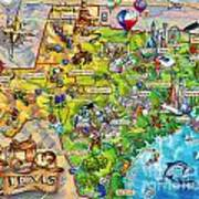 Texas Illustrated Map Poster