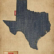 Texas Map Denim Jeans Style Poster