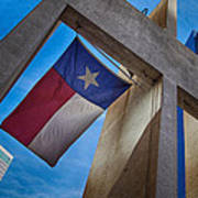 Texas State Flag Downtown Dallas Poster