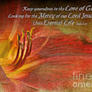 Textured Red Daylily With Verse Poster