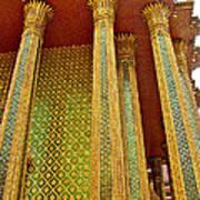 Thai-kmer Pagoda Columns At Grand Palace Of Thailand In Bangkok Poster