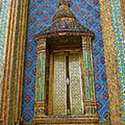 Thai-kmer Pagoda Window At Grand Palace Of Thailand In Bangkok Poster