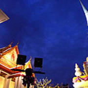 Thai Temple Sunset Poster