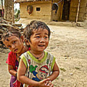 Tharu Village Children Love To Greet Us-nepal- Poster