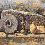The Armenian Still-life With A Fragment Cross - Stone  Armenian Khachqar Poster