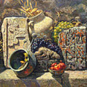The Armenian Still Life With Cross  Stone Khachkar Poster