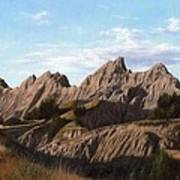 The Badlands In South Dakota Oil Painting Poster