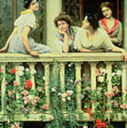 The Balcony Poster by Eugen von Blaas