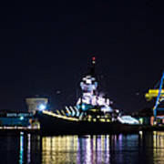 The Battleship New Jersey At Night Poster