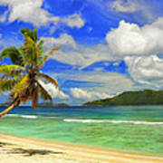 The Beach At Anse Gaulettes Poster