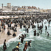 The Beach At Atlantic City 1902 Poster