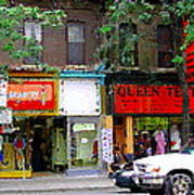 The Beadery Craft Shop  Queen Textiles Fabric Store Downtown Toronto City Scene Paintings Cspandau  Poster