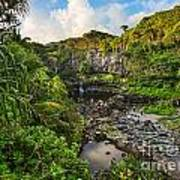 The Beautiful Scene Of The Seven Sacred Pools Of Maui. Poster