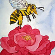 The Bee And The Rose Poster by Shirin Shahram Badie