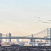The Ben Franklin Bridge From Penn Treaty Park Poster