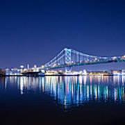 The Benjamin Franklin Bridge At Night Poster