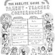 'the Berlitz Guide To Parent-teacher Conferences' Poster by Roz Chast