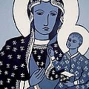The Black Madonna In Blue Poster
