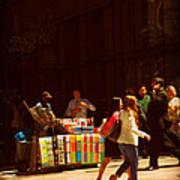 The Bookseller - New York City Street Scene - Street Vendor Poster