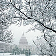 The Capitol In Snow Poster