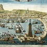 The City And Port Of Barcelona 18th C Poster