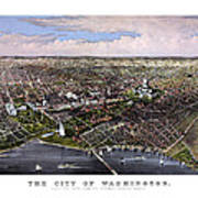 The City Of Washington Birds Eye View Poster
