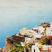 The Cliffside - Santorini Poster