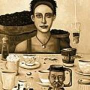 The Coffee Addict In Sepia Poster