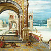 The Courtyard Of A Renaissance Palace Poster
