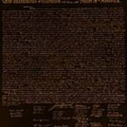The Declaration Of Independence In Negative Orange Poster
